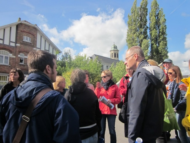 Fig. 2 A stop at Drongen on the excursion route from Ghent to the port city of Temeuzen (The Netherlands). Excursion was oriented to landscape reflecting new features and challenges and was led by prof. Veerle van Eetvelde of the University of Gente. (Photo: Mária Kozová)